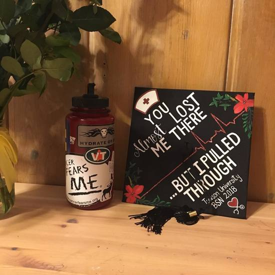 """""""you almost lost me there...but I pulled through"""" decorated nurse BSN graduation cap"""