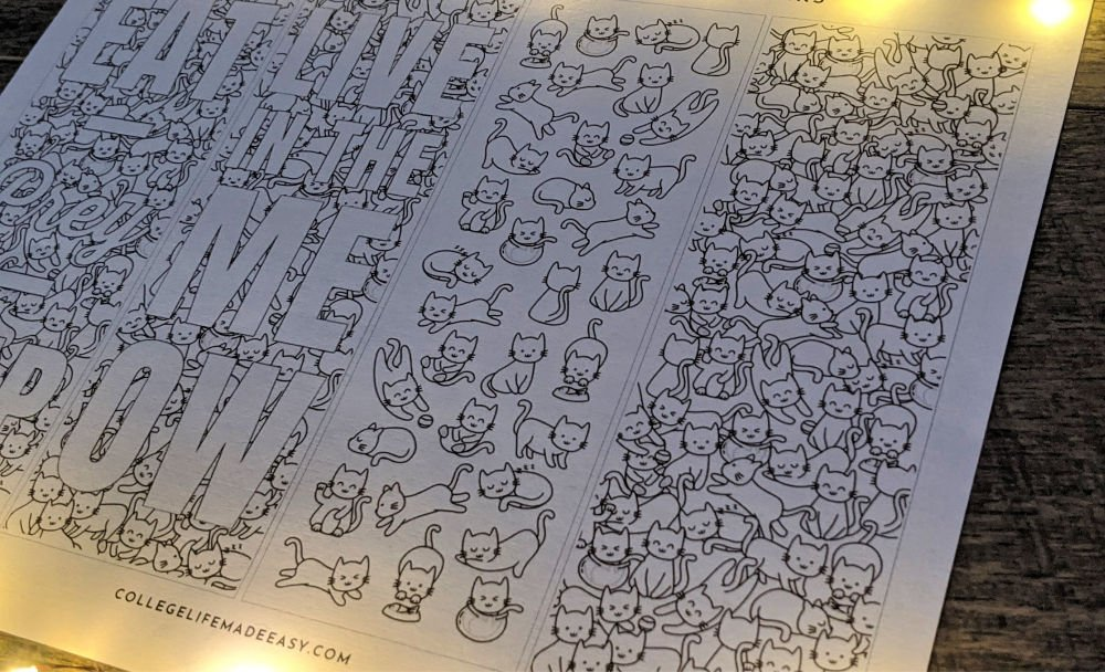 another angle of the free printable coloring bookmarks showing off the cute little cats