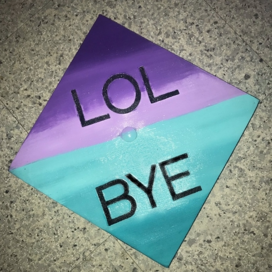 LOL BYE graduation cap decoration idea