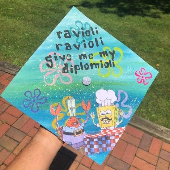 spongebob graduation quote cap decoration