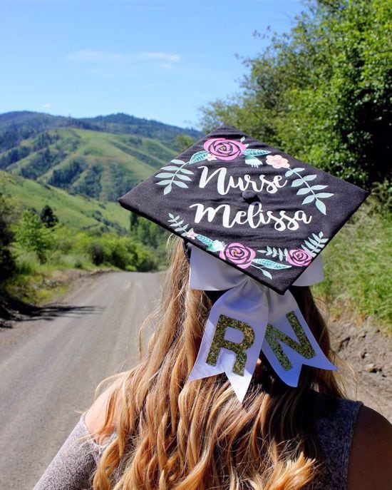 Nurse RN painted grad cap design idea