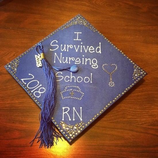 I survived nursing school RN cap decoration idea
