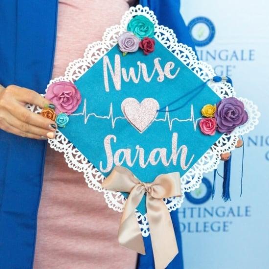 cute blue nurse graduation cap idea