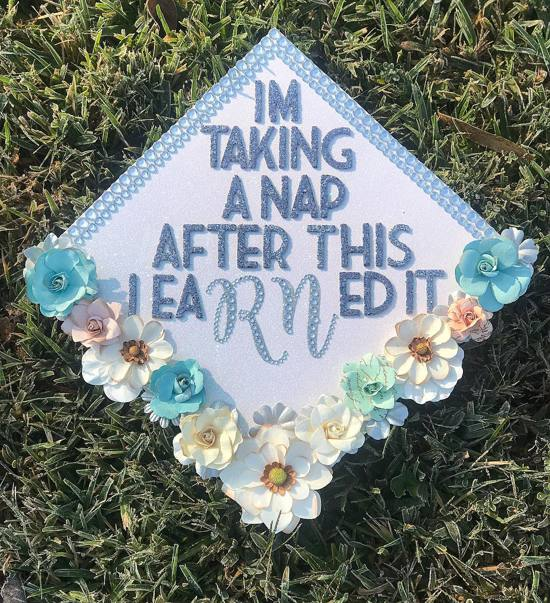 nap registered nurse graduation cap idea