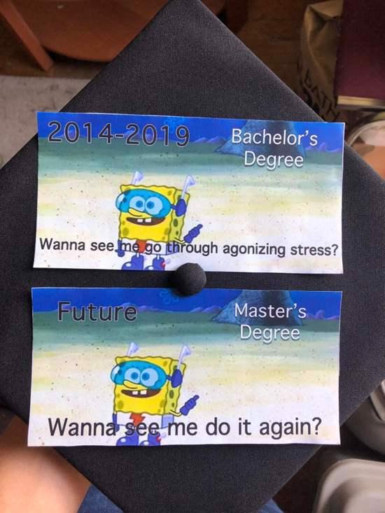 spongebob bachelor's degree grad cap decoration