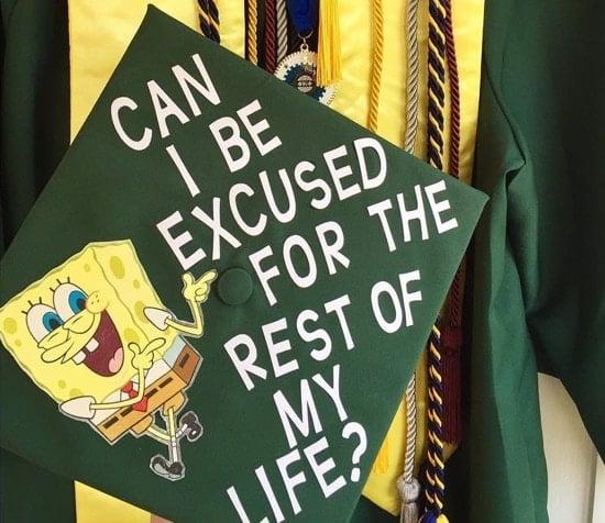 spongebob decorated graduation cap topper