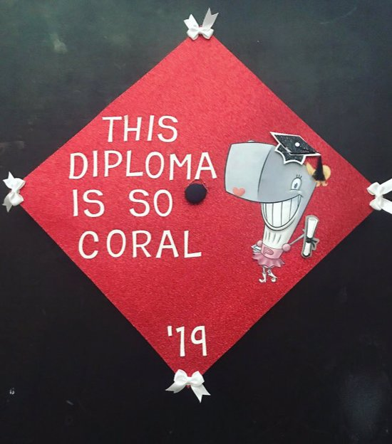 this diploma is so coral graduation cap topper