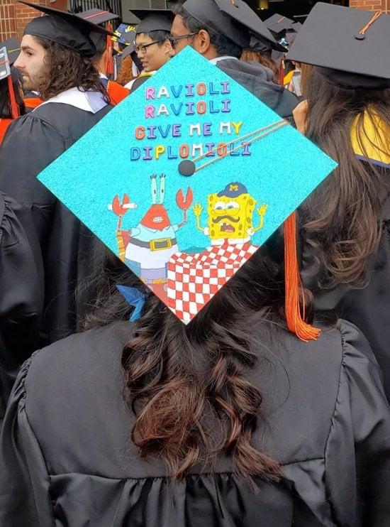 graduation cap design with ravioli ravioli give me the diplomioli