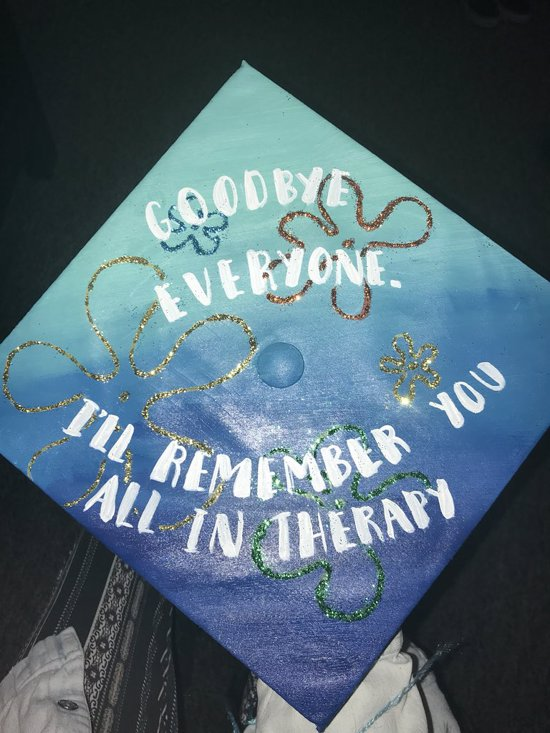 goodbye everyone. I'll remember you therapy graduation cap plankton quote decoration