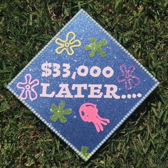 funny $33,000 later spongebob grad cap design