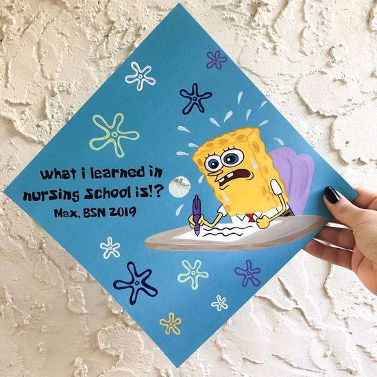 what i learned in nursing school is?! spongebob graduation cap idea
