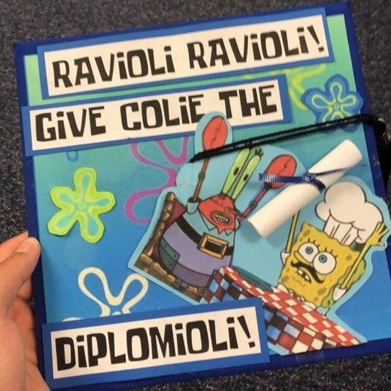 ravioli ravioli give me the diplomioli graduation cap