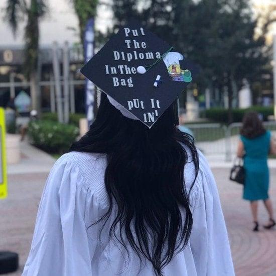 funny spongebob graduation quote on grad hat