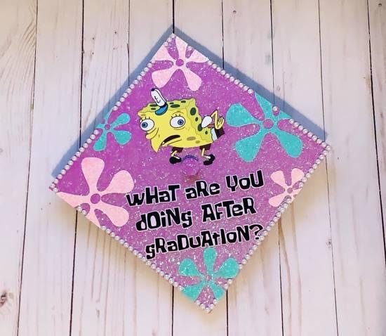what are you doing after graduation? mocking spongebob grad cap