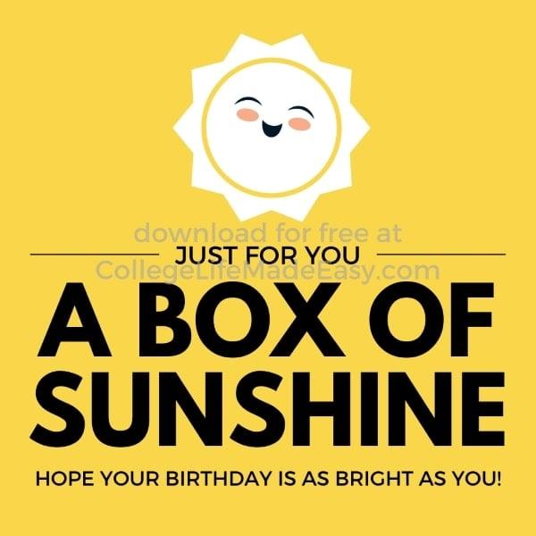 cute birthday printable for a box of sunshine