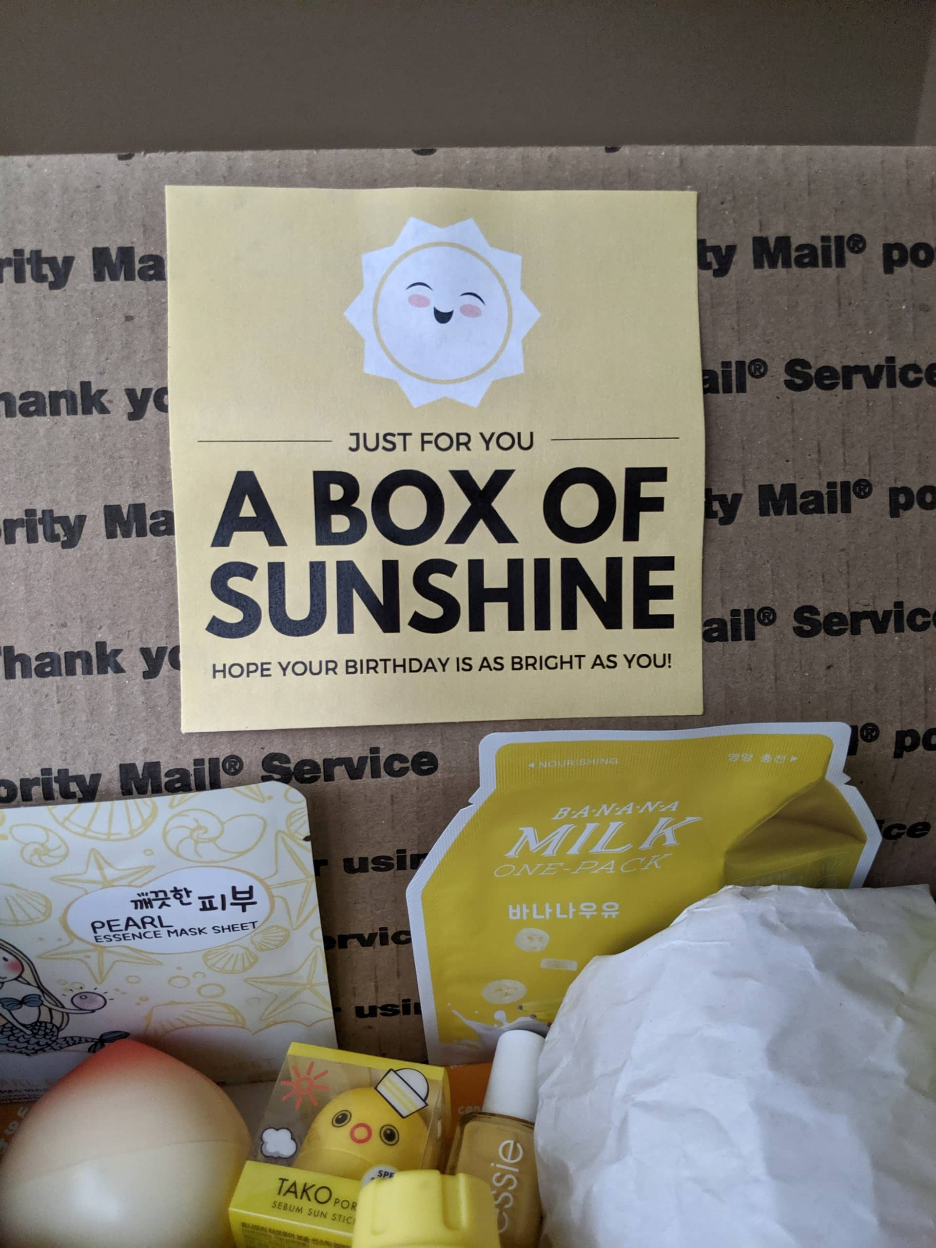 just for you a box of sunshine - hope your birthday is as bright as you printable