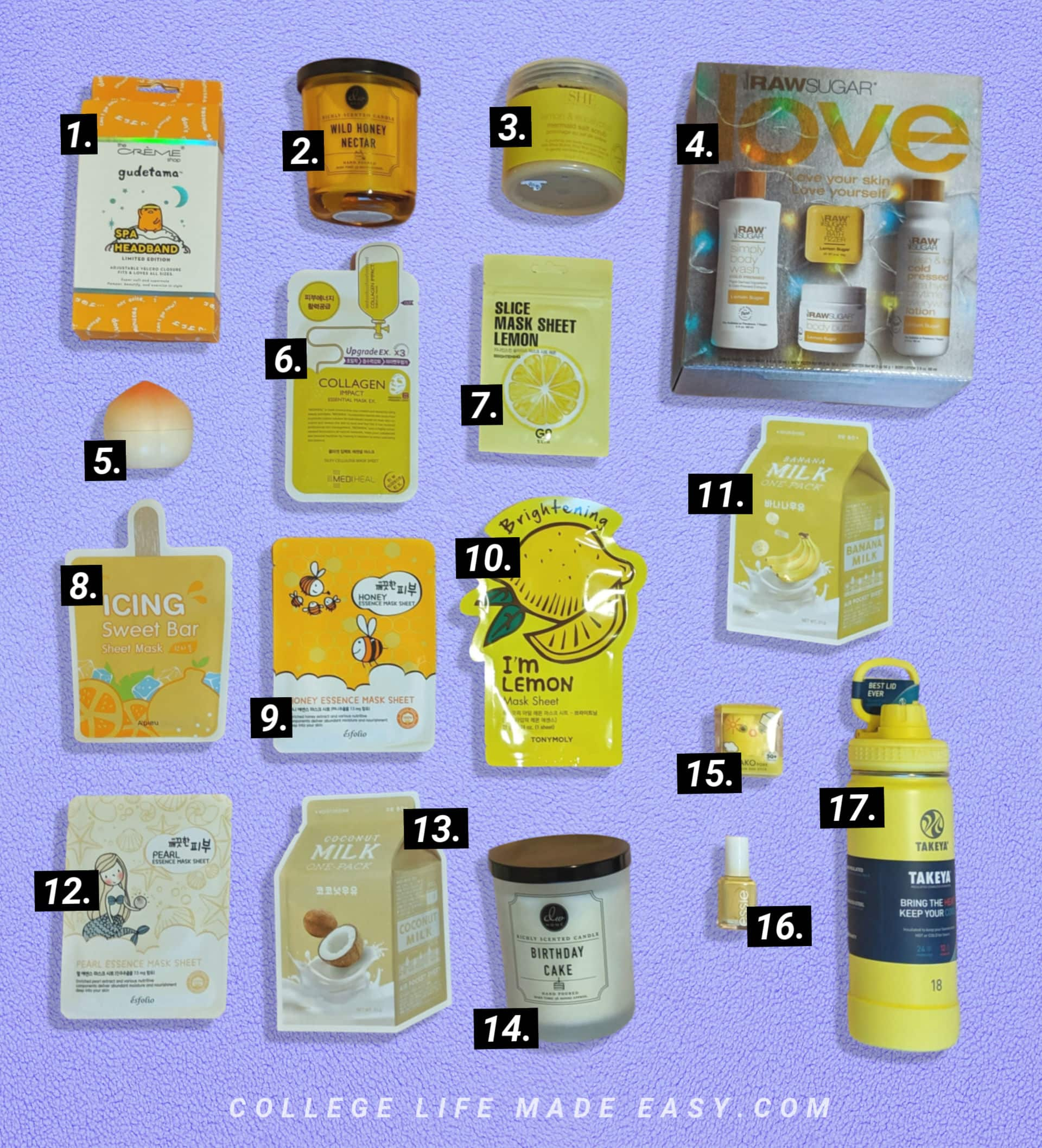 the yellow gifts I put in a box of sunshine birthday care package