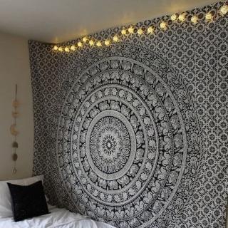 black mandala design wall tapestry