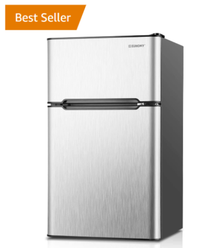 best selling mini fridge with a freezer on Amazon - Ehomy RF-S model in silver