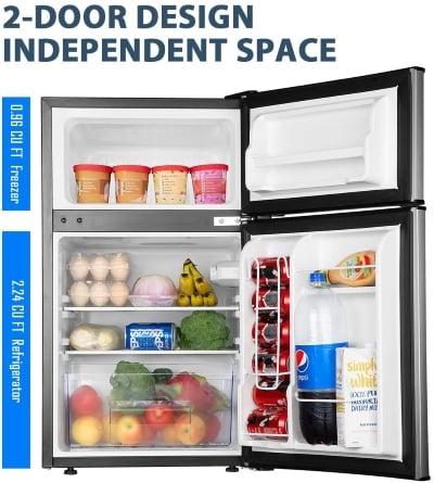 example of one of the best dorm mini fridges with freezers with doors open