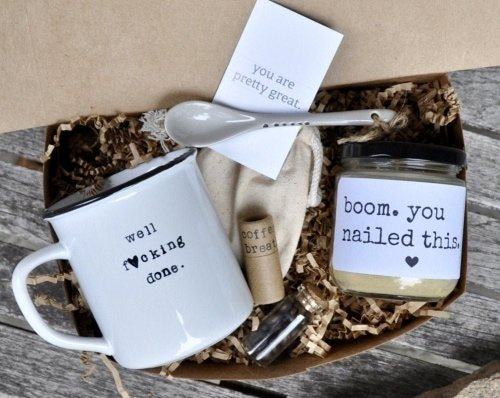 college graduation mug gift box with candle and stirring spoon