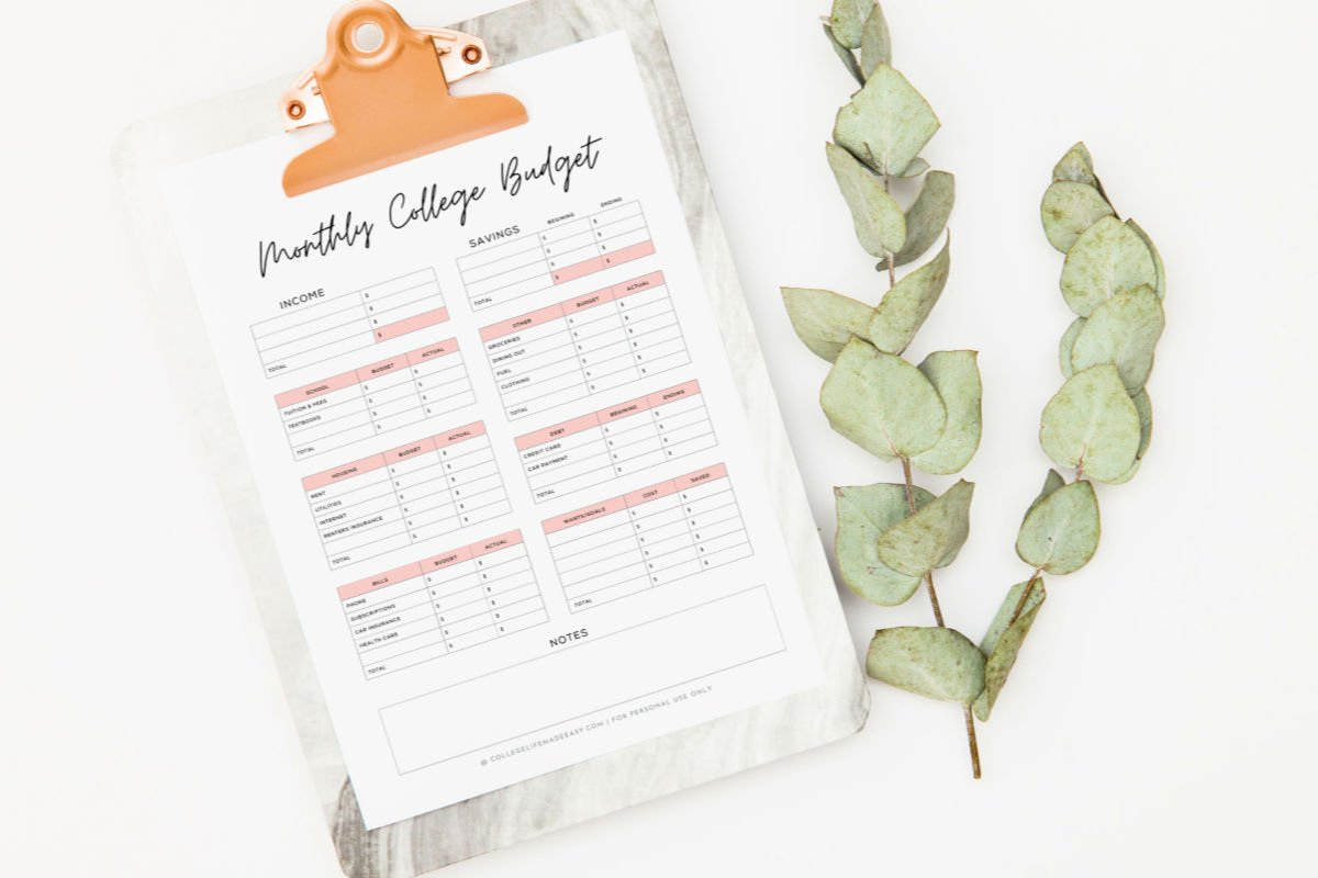 pink monthly college budget template from top with leaves next to clipboard