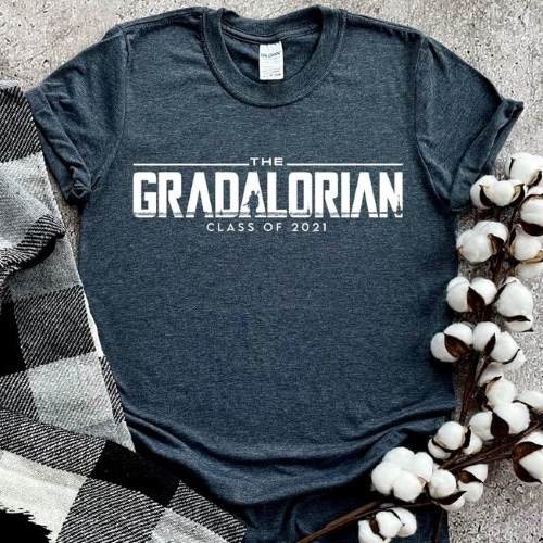 """heather navy tshirt with the words """"the gradalorian"""""""