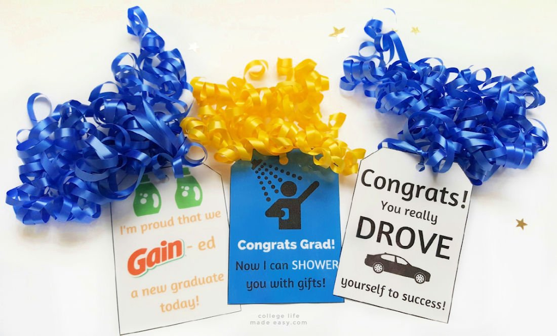 3 Diy Going Away To College Gift Baskets Free Gift Tags