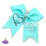 turquoise colored nurse graduation cap bow decoration