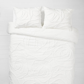 White Boho Rose Comforter and Sham Set