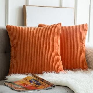 2 orange Corduroy throw pillows