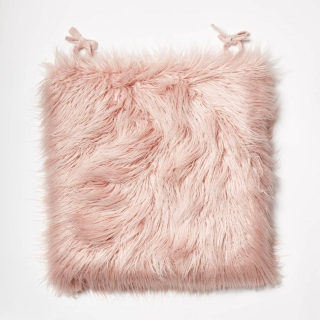 Dormify Faux Mongolian Seat Cushion in dusty rose color