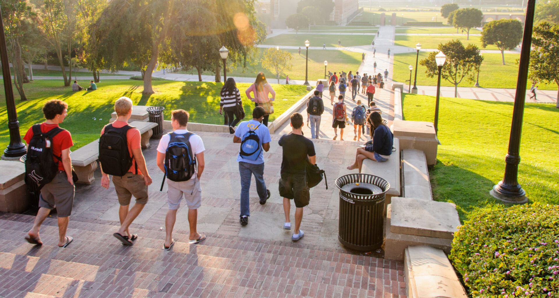Students walking home late afternoon at the University of California, Los Angeles campus