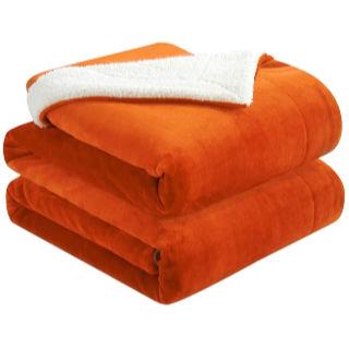 Walensee Sherpa Fleece Throw Blanket in orange
