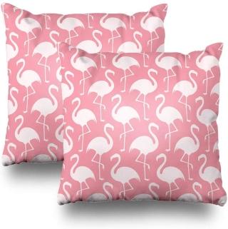 pink flamingo pattern throw pillows
