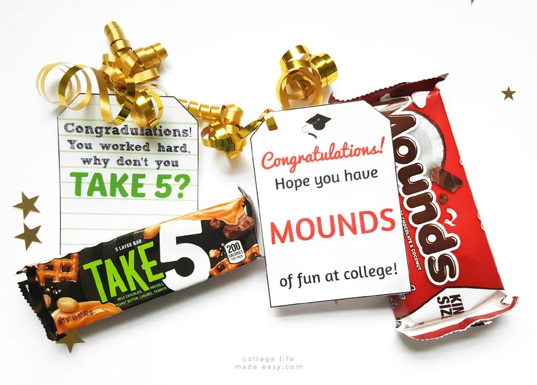 college gift basket tags with puns involving take 5 and mounds candy bars