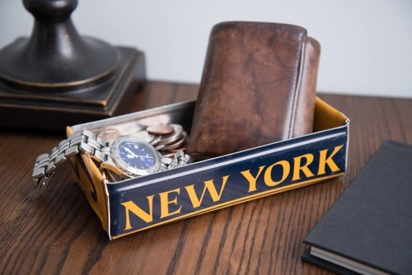 new york license plate shaped into unique tray for holding wallet and other small items