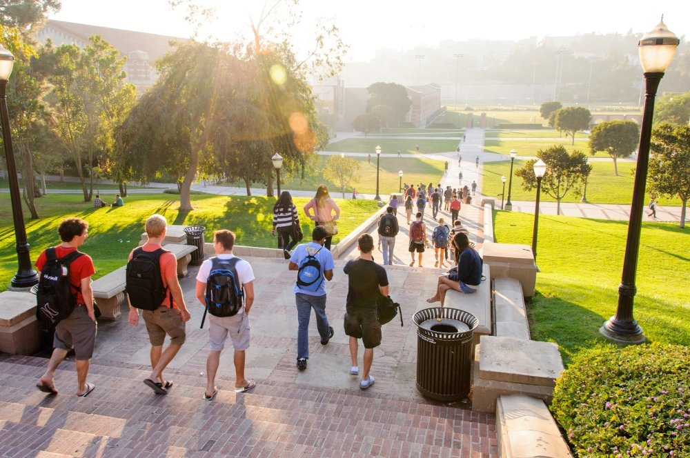 students walking on campus at UCLA