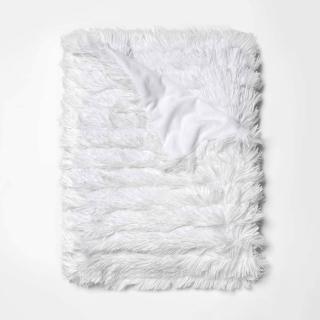pure white ruffled shag throw blanket