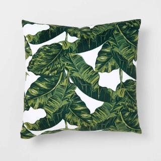 green palm leaf design throw pillow