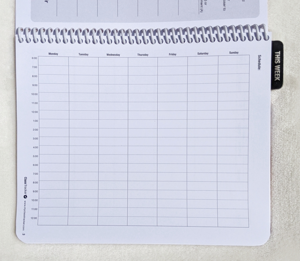 semester class schedule page in classtracker college planner