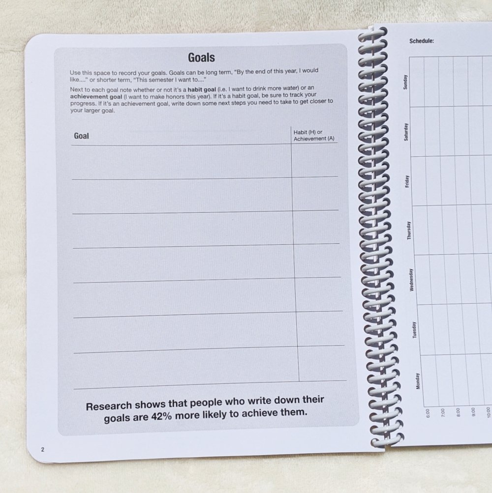 closer view of the goals page in the ClassTracker planner