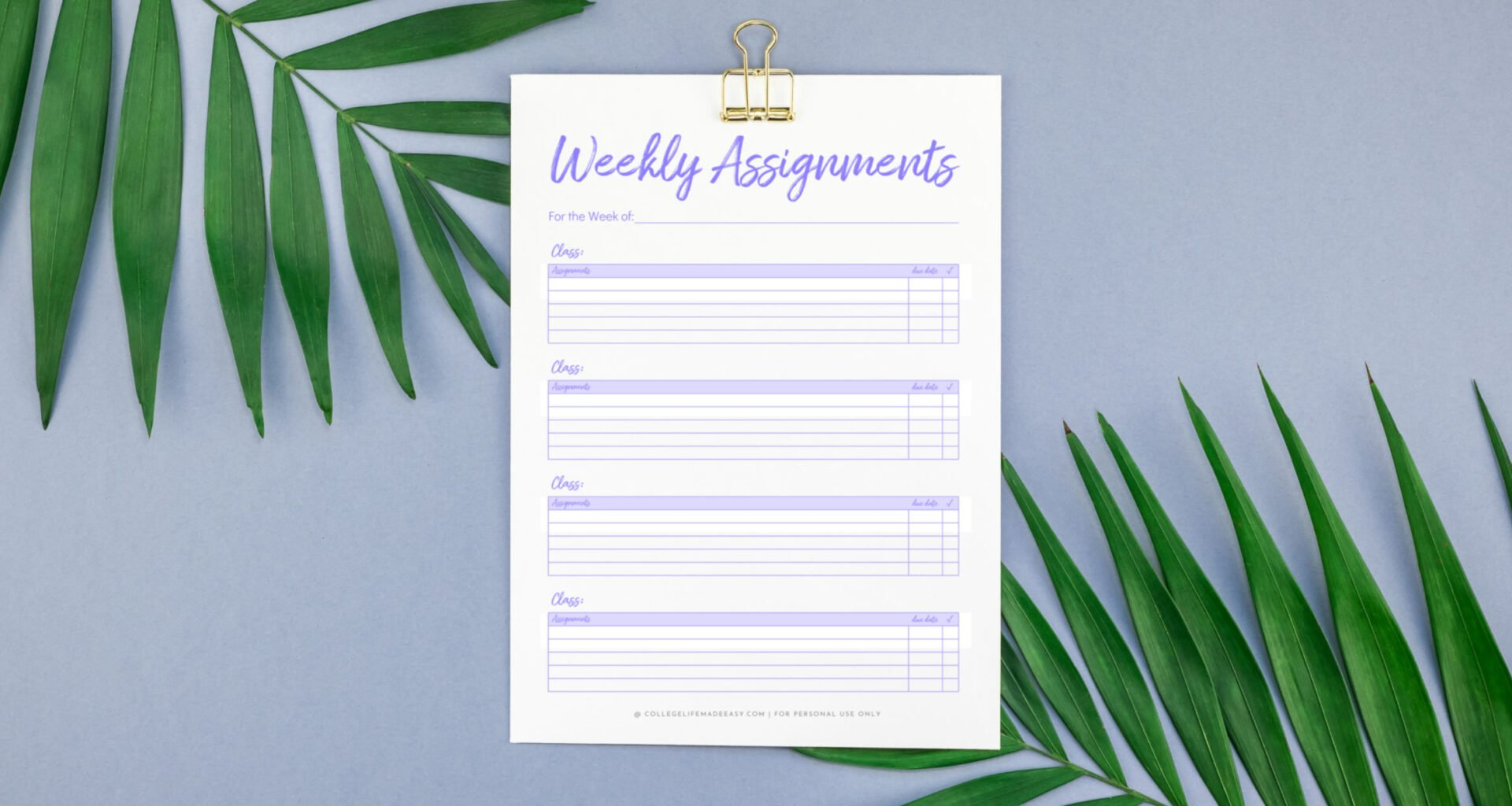 printable homework tracker template on palm leaf background