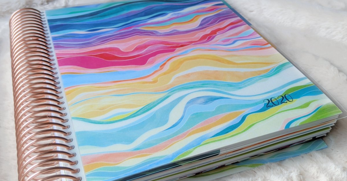 close up of the colorful layers cover design on the Erin Condren daily LifePlanner