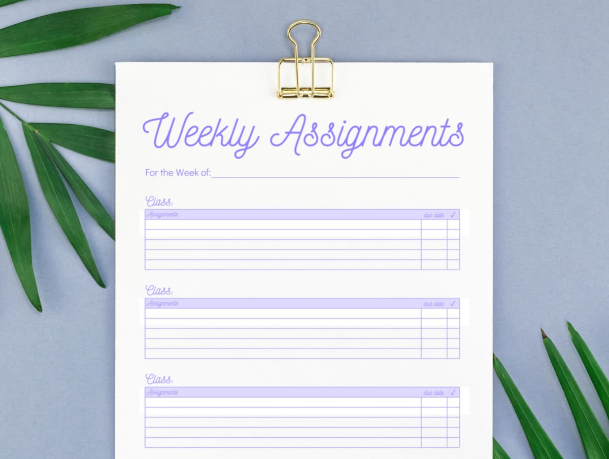 weekly assignment tracker template on greyish background with palm frond leaves