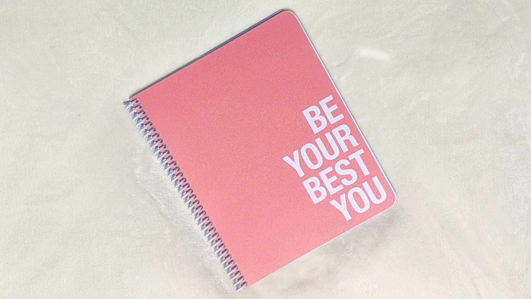 """good planner for college with coral cover that says, """"be your best you"""""""