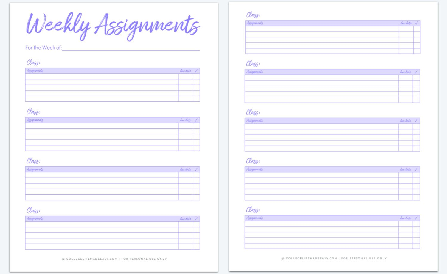 purple assignment tracker printable for college students with two pages
