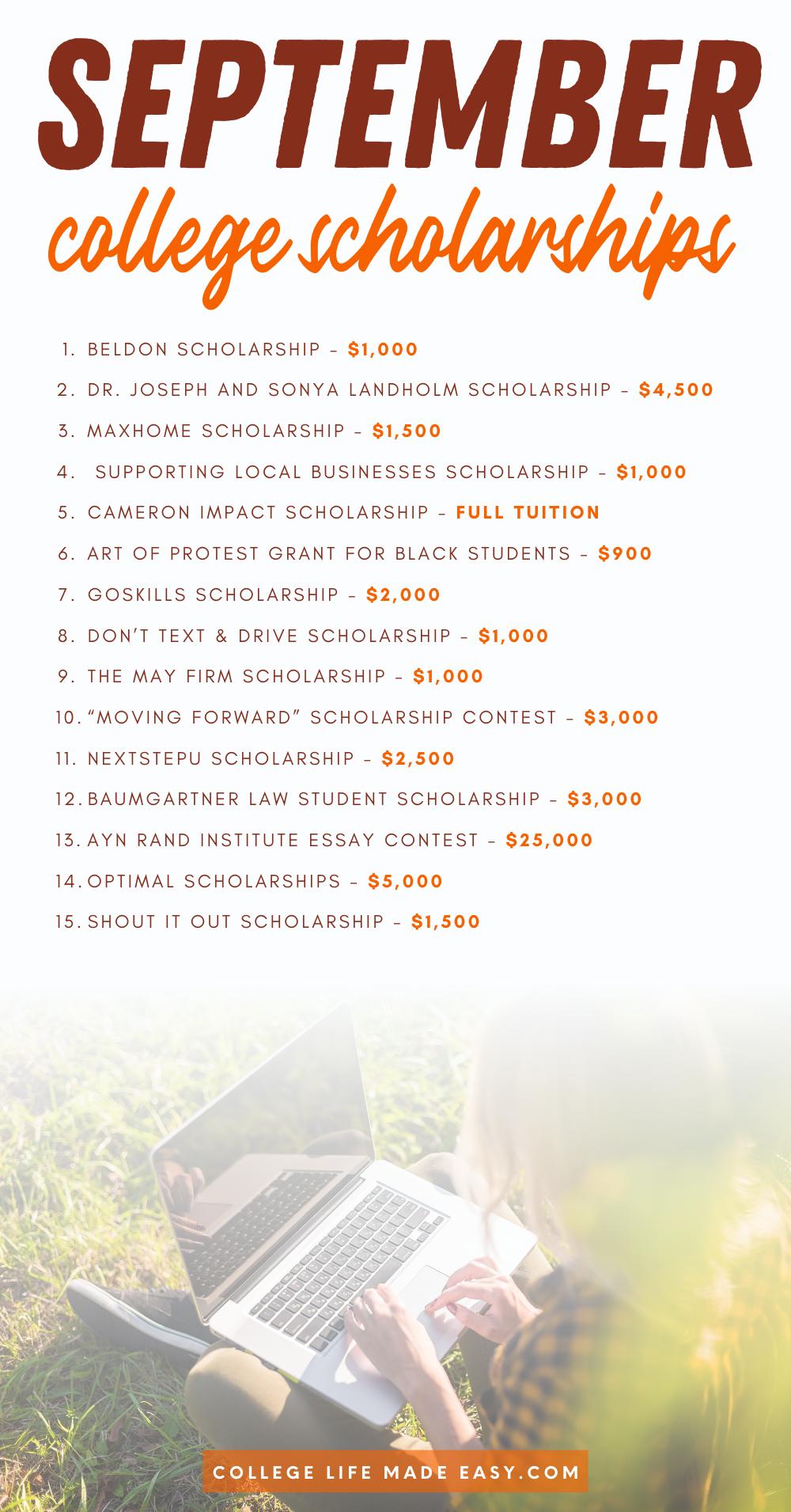 info graphic list of September deadline scholarships