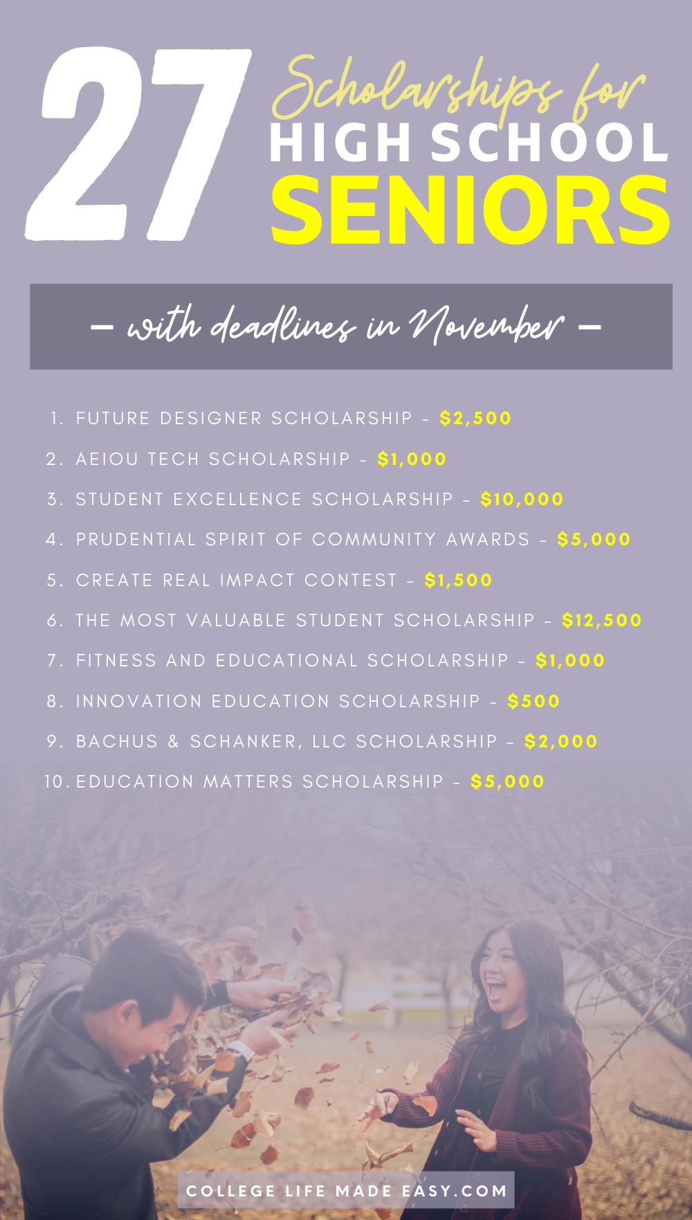 26 November Scholarships for High School Seniors 1
