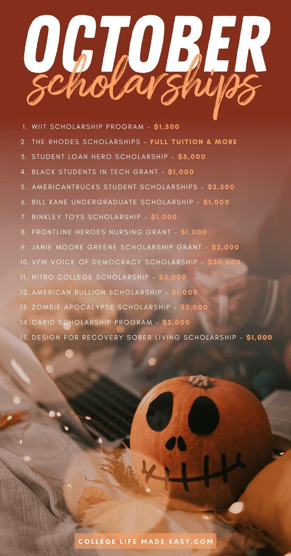 October college scholarships Pinterest infographic list